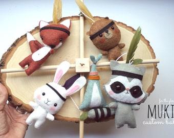 FOREST BABY MOBILE, Peter Pan nursery, Indian Tribal Crib Mobile,  Crib Baby Mobile, Raccoon, Fox, Bear, Rabbit