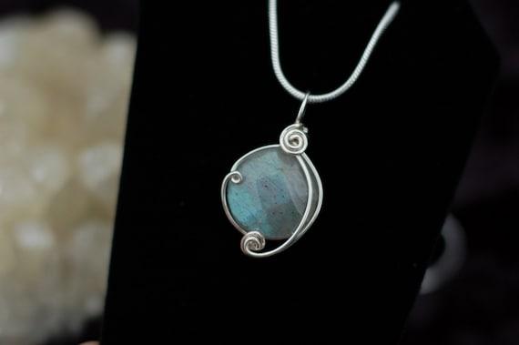 Labradorite Gemstone Pendant in Sterling Silver / Wire Wrap Jewelry / Gemstone Necklace / Small Stone Pendant / Artisan Jewelry