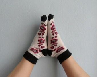 Ankle Socks Boot Socks Women Sokcs Leg Warmers Rose Printed Socks