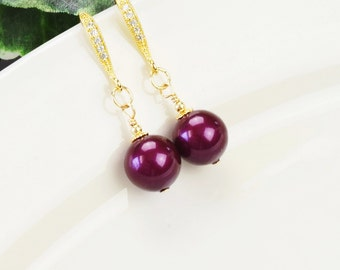 Marsala Earrings - Gold Pearl Earrings - Pearl Drop Earrings for Bridesmaids - Burgundy Wine Earrings - Pearl Jewelry - Swarovski Jewelry
