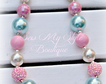 Pearly Mint/Cream and Pinks Chunky Bubblegum Fancy Necklace