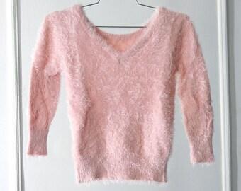 Fuzzy 90s Pastel Pink Soft Stretchy V-Neck Sweater