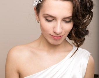 Bridal lace headband with Swarovski pearls, lace headpiece