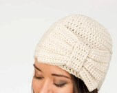 Oatmeal Crochet Bow Hat, Handmade Oversize, Women's Knitted Winter Accessory, Crocheted Beanie, 1920's Inspired Knit, Gatsby Knitted