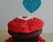 Valentine's Day. Bright Light Blue. Heart Shape Cupcake Topper. 20 pieces.