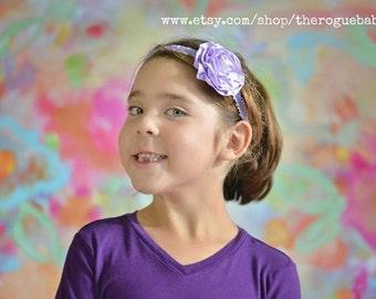 Purple Ruffle Headband -  Ruffle Elastic with Satin Flower - Newborn Baby Infant- Photo Prop