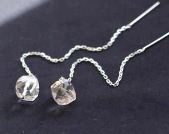 SALE--Long dangle earrings with crystal quartz, sterling silver, 14K gold filled. April birthstone earrings. E043.