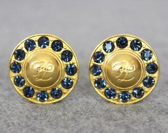 vintage KARL LAGERFELD earrings / 1980s designer earrings / clip on earrings / blue rhinestone gold earrings / statement earrings