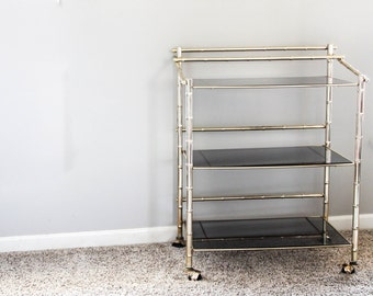Vintage Faux Bamboo Brass Bar Cart / Serving Cart / Three Tiered Glass Mid Century / Hollywood Regency