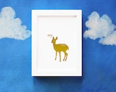 Gold Foil Print Nursery MY DEER Metallic Gold Handmade Baby