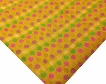 Sunny Yellow Multi Color Polka Dots Chanderi Silk Fabric By Yard - Polka Dots Pattern Chanderi Silk Fabric