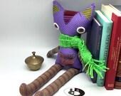 Handmade cat doll with crocheted scarf, purple cat doll, cotton fabric toy, cloth doll with glass eyes, nursery animals, nursery rag doll
