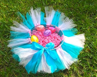 Bright Blue and Pink Tutu Easter Basket - Easter Bucket - Flower Girl Basket - Party Center Piece