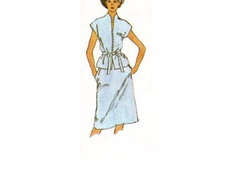 80s Retro Simplicity 9947 Sewing Pattern Casual Two Piece Dress Slim Skirt Pullover Blouse Uncut FF Bust 34