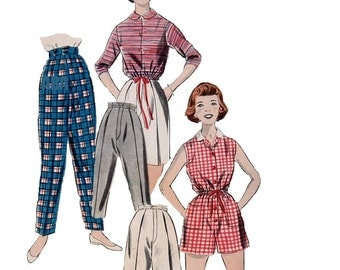 Butterick Retro Rockabilly Style Pencil Pedal Pusher Pants Shorts Tapered Leg Capri 50s Sewing Pattern Girls Size 8 Playsuit One Piece