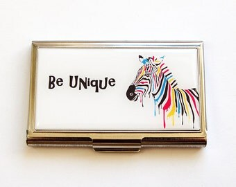 Business Card Case, Be Unique, Business card holder, Inspirational Words, Card case, Made in Canada, Rainbow, Zebra, Bright Colors (4767)