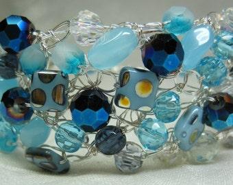 Wire Crochet Bracelet in Teal Blues, handmade crocheted beaded bracelet, blue beadwork jewelry