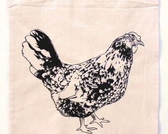 Fair trade chicken tote bag : Hand silkscreen printed