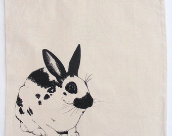 Fair trade rabbit tote bag : Hand silkscreen printed