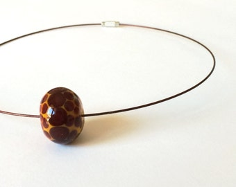 Minimalist animalier hand blown lampworked glass necklace