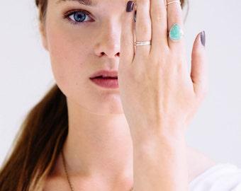 Amazonite Ring, Sterling Silver Ring, Teardrop Ring, Hand Fabricated Ring, Brazilian Amazonite