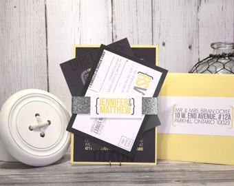 "Modern Wedding Invitation Set – Urban Wedding Invitations – Custom Wedding Invites– Gray and Yellow Wedding Invite – ""Urban Gem"" Sample"