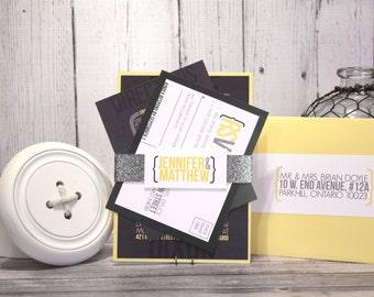 "Modern Wedding Invitation Set – Urban Wedding Invitations – Custom Wedding Invites– Gray and Yellow Wedding Invite – ""Urban Gem"" Deposit"