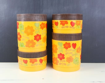 Vintage Alladinware Canisters, Stackable w/ brown Syroco Lids (set of 4)