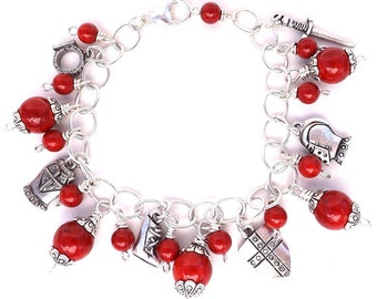 Armor Of God Charm Bracelet, Red Bracelet, Ephesians 6 Christian Jewelry, Put on the Full Armor of God, Scripture Bracelet, Women's Bracelet