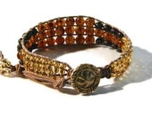 Bohemian Amber & Caramel Beaded Leather Cuff Bracelet, Hand-Sewn Into Distressed Greek Leather, Adjustable