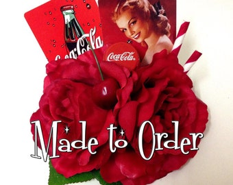 MADE TO ORDER Coca Cola - Pinup rockabilly retro vintage coca cola coke 50's soda shop sweetheart red rose hair flower clip