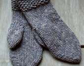 Woodland -Mens/ womens Chunky knit mittens Handknitted Warm Cozy Chunky wool yarn Mittens Mitts Soft gray Christmas idea Handmade in Finland