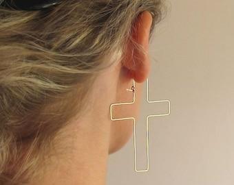 Gold Cross Earrings / Fashion Hollow Cross Earrings / Unique Jewelry / Modern Earrings / Exclusive Earrings / Christian Symbol Jewelry