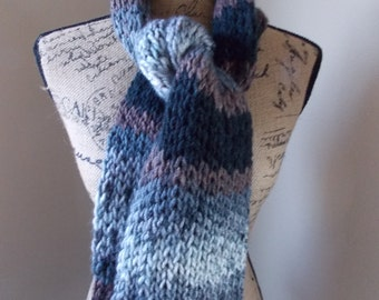 Grey Striped, long knit scarf with grey black and brown stripes made with soft acrylic yarn, street scarf loom knit in ombre dark colors