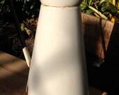 White enamel jug, vintage pitcher white and blue