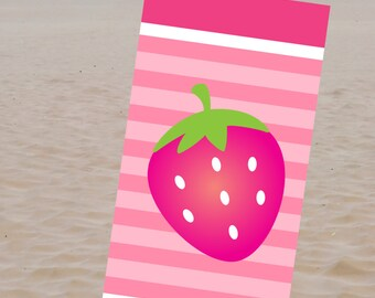 Strawberry Personalized Beach Towel