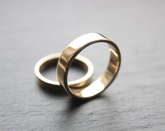 Wedding Ring Set: 9ct Yellow Gold Wedding Band Set, 3mm Womens Ring, 5mm x 1.3mm Mens Ring, Shiny Finish, Made To Order