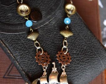 Steampunk Jewelry, Nautical Steampunk with Ship and Gears, Steampunk Necklace, Nautical Jewelry, Summer Trends, OOAK Jewlery, OOAK Steampunk