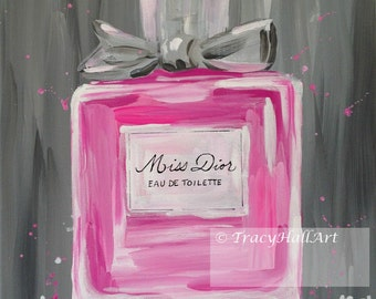 Dior Art PRINT Miss Dior Perfume Bottle Pink Gray from original painting by Tracy Hall