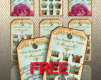 FREEBIE - Free Printable images Gift tags - CAFE - Digital Collage Sheet Download  - Do not Purchase Free Download - Print and Cut