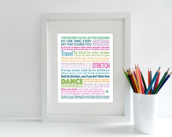 Baz Luhrmann - Everybody's Free (To Wear Sunscreen) - 8x10 inch Lyrics Print