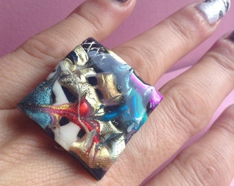 Large Square Metallic Plastic Ring, OOAK, Thermoplastic, FP, adjustable gold plated ring base, handmade in Greece