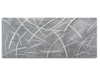 Ultra-Modern Art, Earthy Metal Wall Sculpture 'Tenuous Composition' 48x19in - Silver Artwork, Grassy Layered Design - Organic Abstract Decor