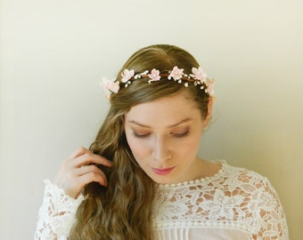 Sweet Blush Headpiece - Light Pink Blossom Woodland Wedding Flower Crown