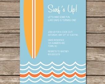 Surf's Up Invitation Surf Board Birthday Party Hang Ten Digital File Print Printable