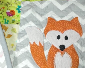 Custom fox baby quilt - crib bedding made to order