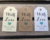 Small Wedding Gift Tags - With Love - Wedding Favor Tags - Customizable Personalized (WT1465)