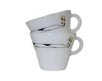 Milk Glass Mugs - Tapered Scalloped Base Matte White Mod Design Termocrisa Tea Coffee Mid Century Fire King 1960s Design Black Mod 60s Cup