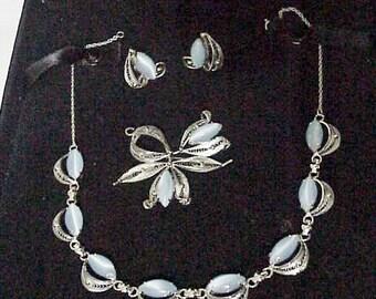 Mid Century Necklace Earrings Brooch/ Sterling Silver Blue Navette Moonstone Parure c1950