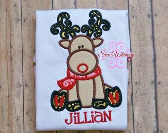Christmas reindeer shirt or bodysuit- Christmas shirt-Rudolph shirt
